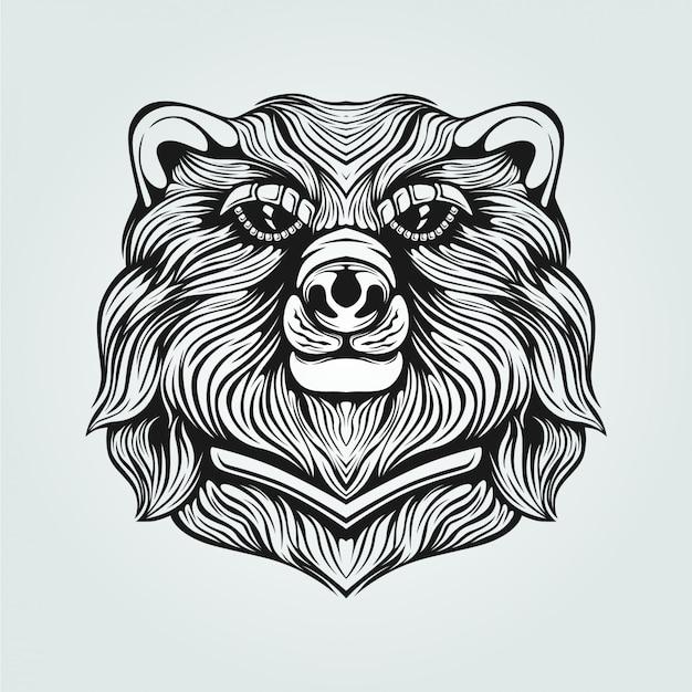 Dessin au trait ours noir et blanc Vecteur Premium