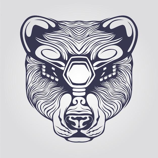 Dessin au trait d'ours avec des yeux décoratifs Vecteur Premium