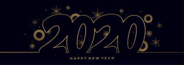 Dessin au trait unique du nouvel an 2020 avec la bannière de couleurs dorées Vecteur Premium
