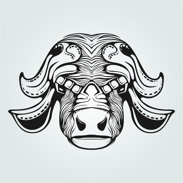 Dessin au trait vache avec visage décoratif Vecteur Premium