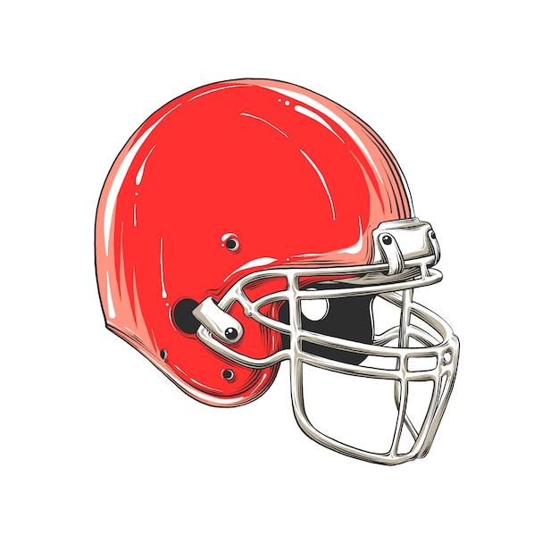Dessin de casque de football américain en couleur, isolé, vectoriel Vecteur Premium