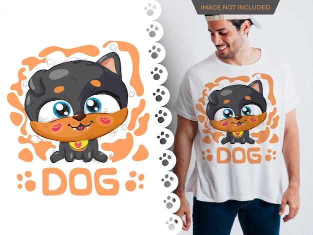 Dessin de chien mignon idée parfaite pour t-shirt Vecteur Premium