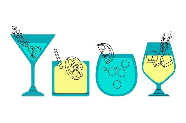 Dessin De Collection De Cocktails Vecteur gratuit