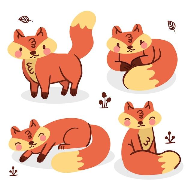 Dessin De La Collection Fox Vecteur gratuit