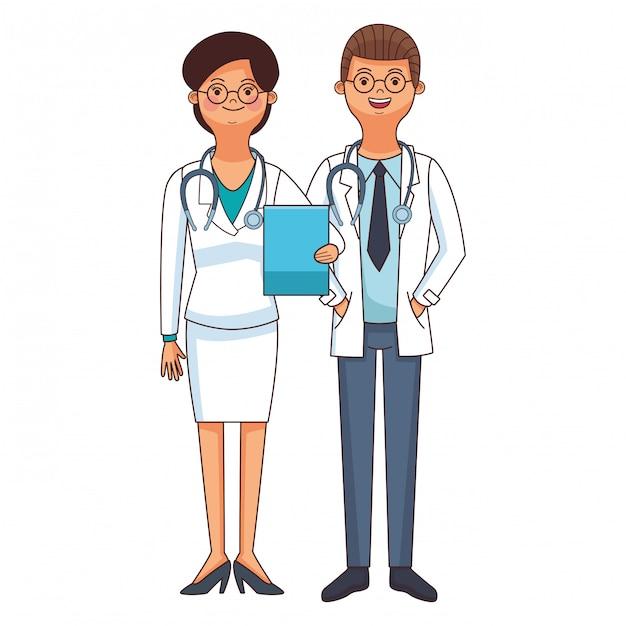 Dessin De Couple Medecin Docteur Vecteur Premium
