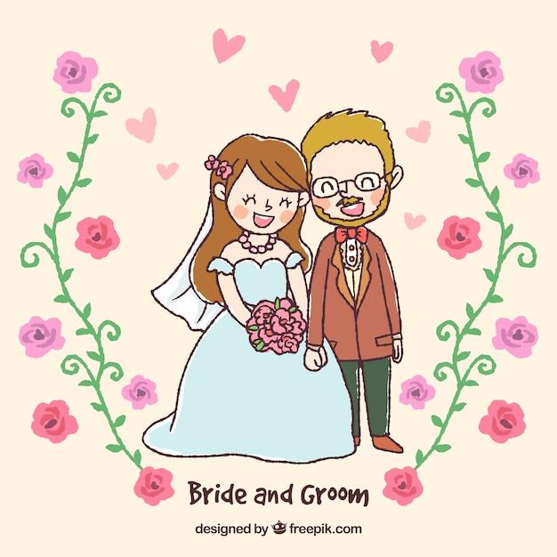 Dessin d'un couple nouvellement marié Vecteur gratuit