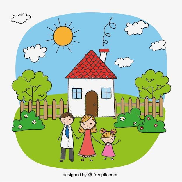 dessin d 39 enfant d 39 une famille heureuse t l charger des vecteurs gratuitement. Black Bedroom Furniture Sets. Home Design Ideas