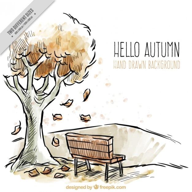 Dessin d 39 un paysage d 39 automne avec des aquarelles t l charger des vecteurs gratuitement - Paysage d automne dessin ...
