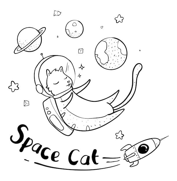 Dessin de chat astronaute t l charger des vecteurs premium - Dessin d astronaute ...
