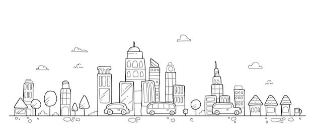 Dessin de main de la ville landsacpe   Télécharger des Vecteurs Premium