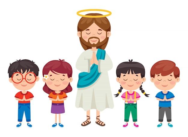 Dessin De Dessin Animé De Jésus-christ Vecteur Premium