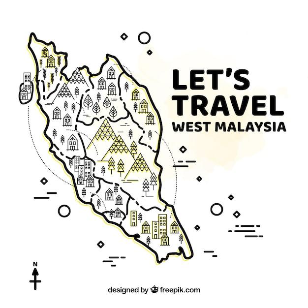 Dessin dessiné à l'ouest de la carte malaisienne Vecteur gratuit
