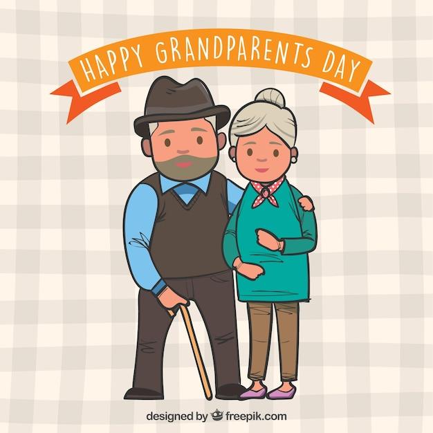 Dessin dessiné par les grands parents Vecteur gratuit