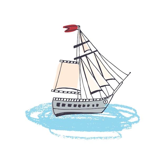 Dessin De Doodle De Navire A Passagers Bateau A Voile Classique Ou Navire Marin Avec Voile Dans L Ocean Voilier Ou Yacht En Voyage En Mer Vecteur Premium