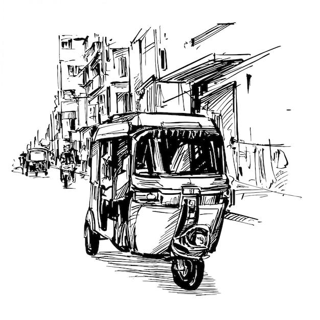 Dessin Du Tricycle Sur Rue En Inde Vecteur Premium