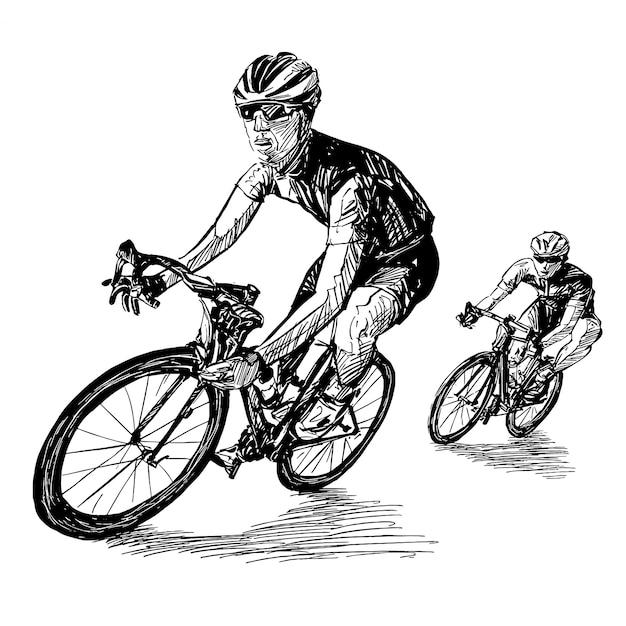 Dessin De L'équipe De Cyclistes Du Concours De Vélo | Vecteur Premium