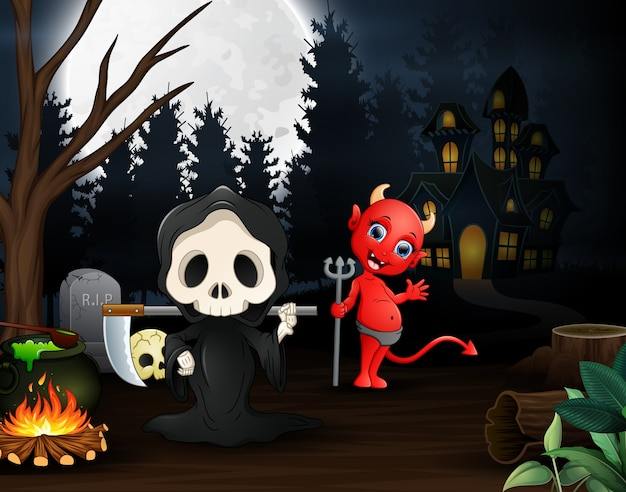 Dessin de la faucheuse et le diable rouge à l'extérieur dans la nuit Vecteur Premium