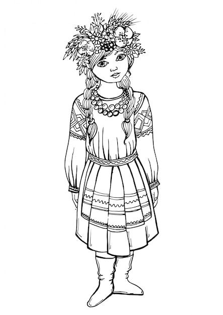 Dessin fille noir blanc en costume national Vecteur Premium