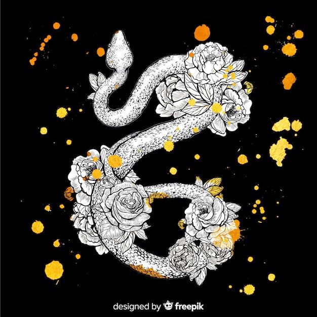 Dessin floral dessiné à la main sur une peau de serpent Vecteur gratuit