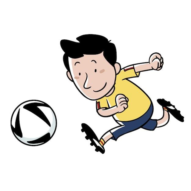 Dessin D Un Footballeur Courant Apres Le Bal Vecteur Premium