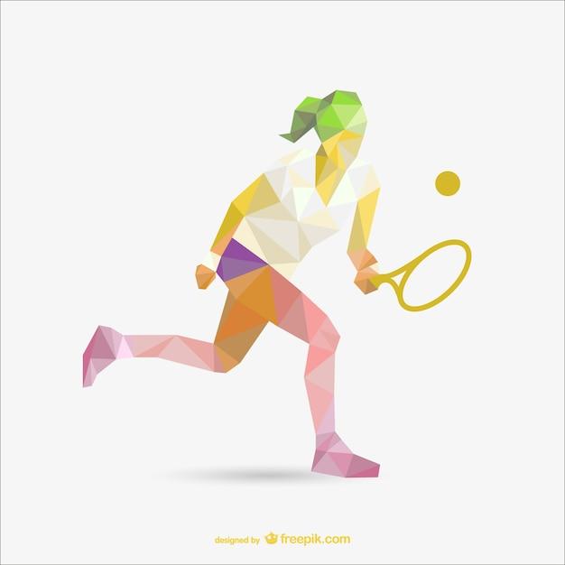 Dessin de la géométrie de joueur de tennis de femme Vecteur gratuit