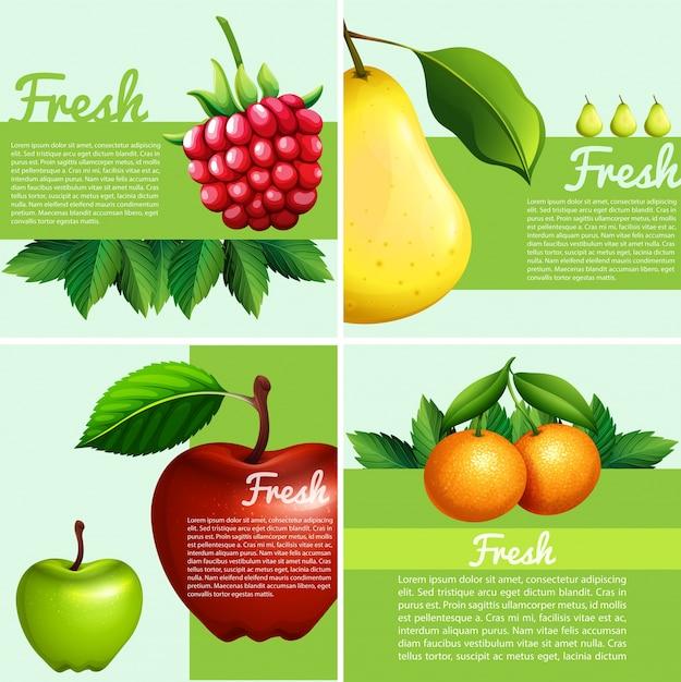 Dessin infographique avec des fruits frais Vecteur Premium