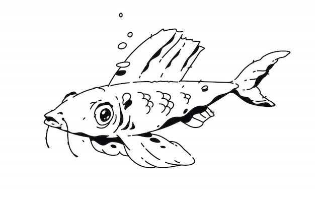 Dessin linéaire de poisson. tatouage de mode. Vecteur Premium