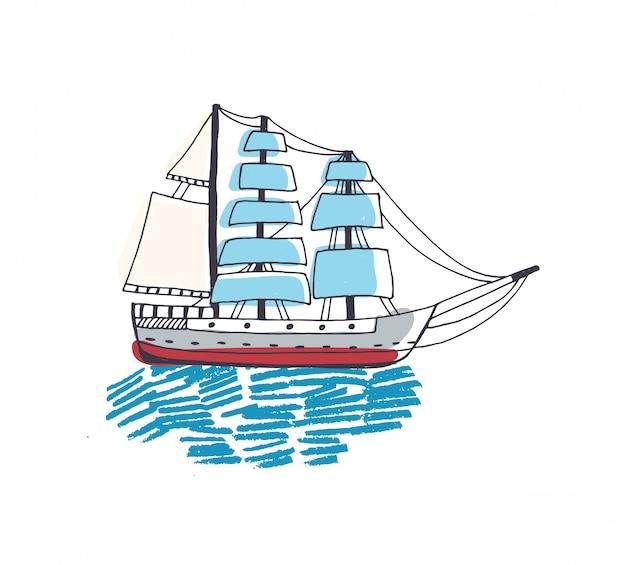 Dessin De Magnifique Bateau Voilier Fregate Ou Caravelle Avec Voile Dans L Ocean Vecteur Premium