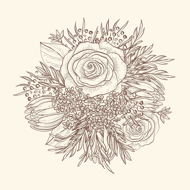 Dessin à la main d'un bouquet floral vintage Vecteur gratuit