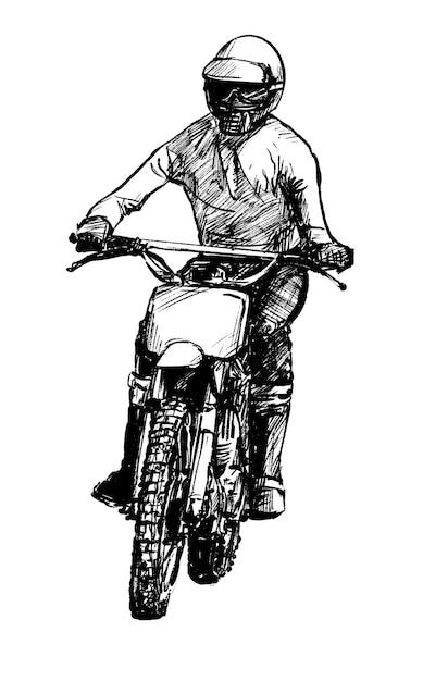 Dessin De La Main De La Competition De Motocross Tirage Au Sort Vecteur Premium