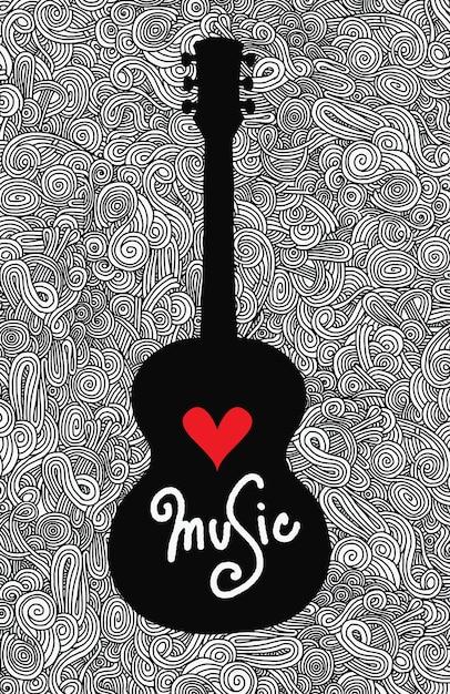 Dessin à la main doodle guitare acoustique Vecteur Premium