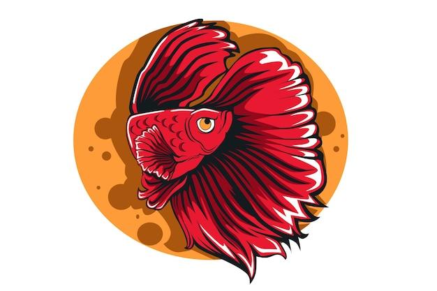 Dessin à La Main Illustration Poisson Betta Rouge Vecteur Premium