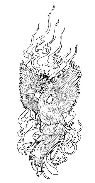 Dessin à la main oiseau art tatouage et croquis en noir et blanc sur blanc Vecteur Premium