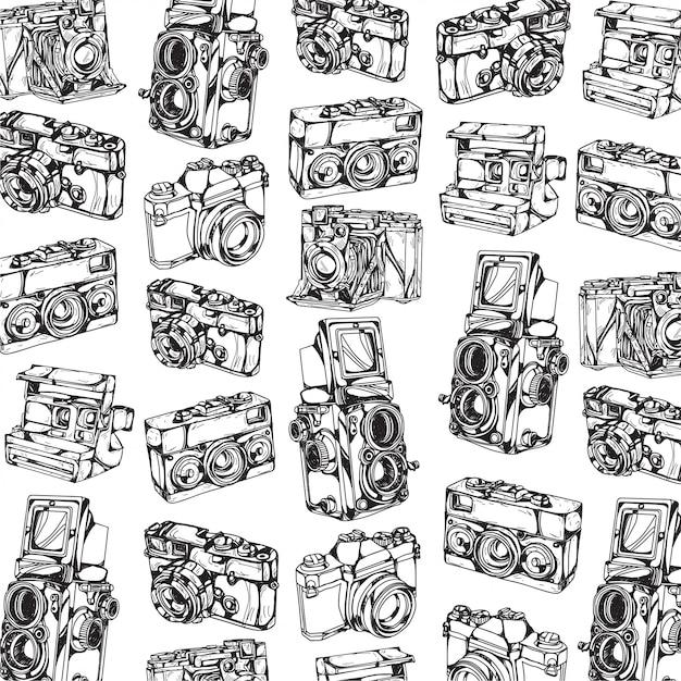 Dessin de modèle de caméra à la main et croquis en noir et blanc Vecteur Premium