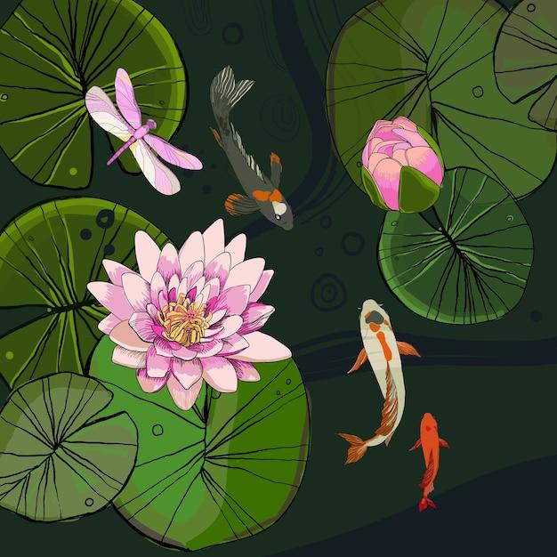 Dessin Modèle D'étang Décoratif Avec Bourgeon De Fleur De Lotus Laisse Des Poissons Et Une Libellule Vecteur gratuit