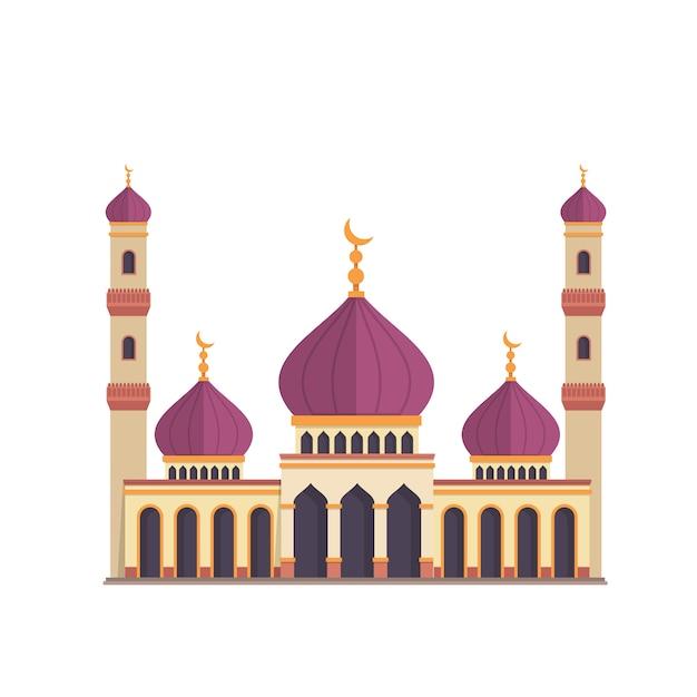 Dessin De La Mosquée Sur Fond Blanc Vecteur gratuit