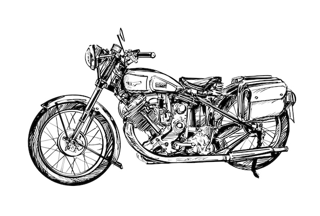 Dessin De La Moto Classique Vecteur Premium