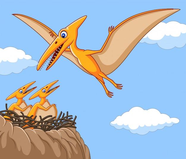 Dessin de ptérodactyle avec son bébé Vecteur Premium