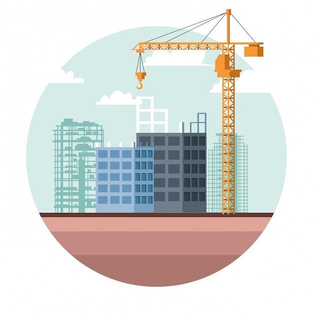 Dessin De Site De Contruction Vecteur Premium
