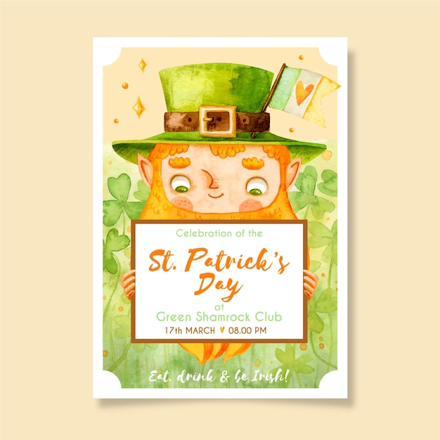 Dessin De St. Modèle D'affiche Patricks Day Vecteur gratuit