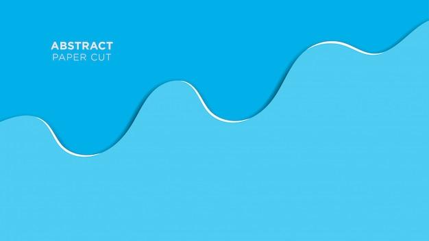 Dessin superposé de vagues bleues de fond abstrait papercut Vecteur Premium