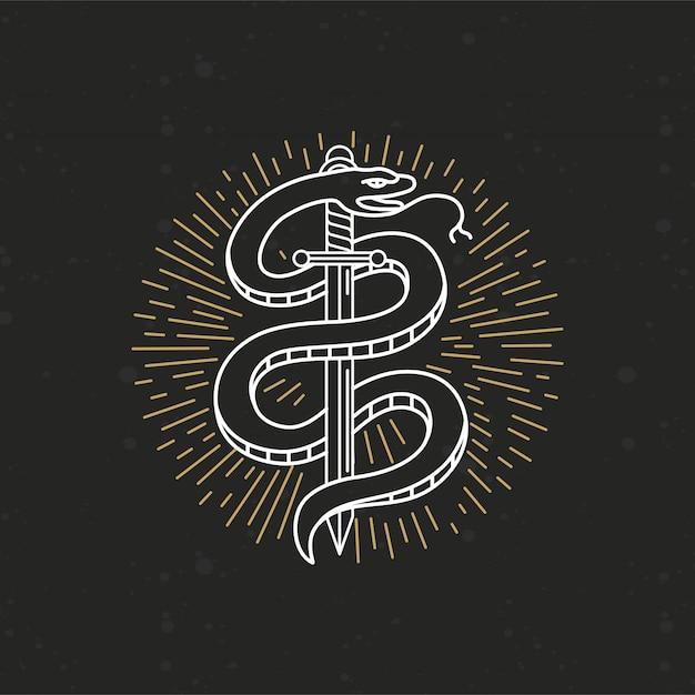 Dessin de tatouage monochrome linéaire de vecteur Vecteur Premium
