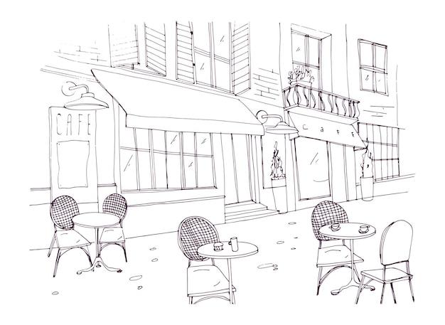 Dessin - Terrasse, Café, Ou, Restaurant, à, Tables, Et, Chaises, Debout, Sur, Rue Ville, Côté, Bâtiment Antique Vecteur Premium