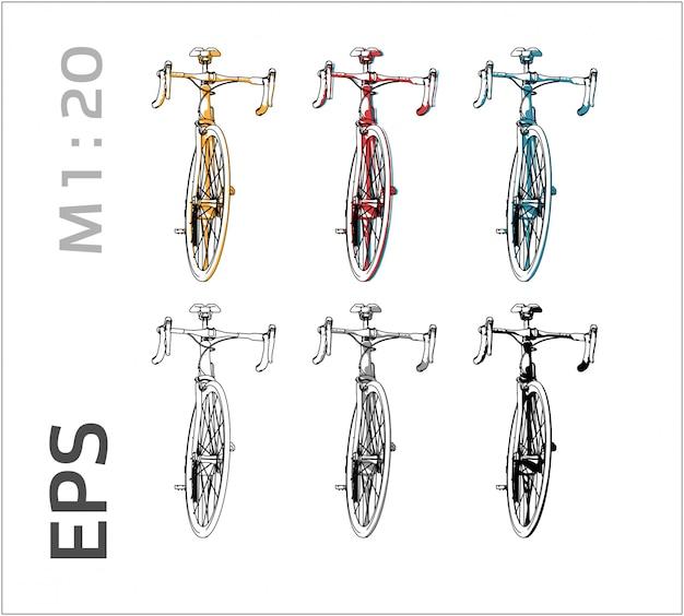 Dessin de vélo sur différentes couleurs, vue de face Vecteur Premium