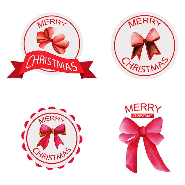 Dessiné à la main aquarelle Noël Logo Designs Vecteur gratuit