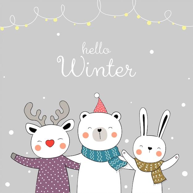 Dessine un animal heureux dans la neige pour noël et le nouvel an. Vecteur Premium