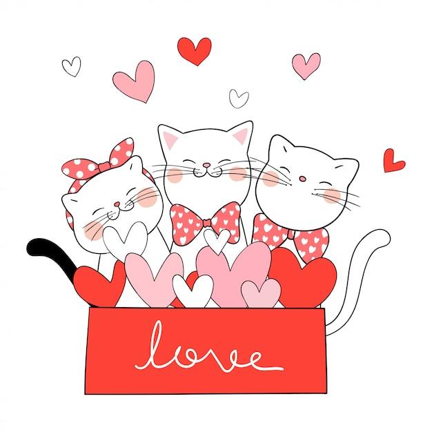 Dessine Le Chat Dans La Boîte Cadeau Couleur Rouge Pour La Saint-valentin Vecteur Premium