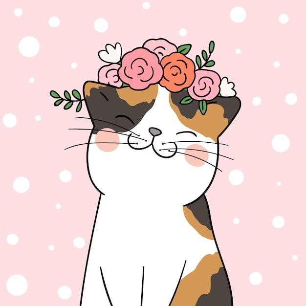 Dessine un chat avec une fleur de beauté sur la tête en pastel rose. Vecteur Premium
