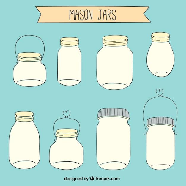 Dessiné Collection Pots Mason Vecteur gratuit