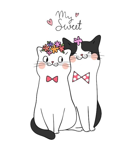 Dessine le couple amour du chat avec le mot mon doux style doodle Vecteur Premium